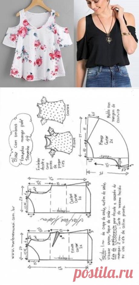 Blusa ombros vazados com manga godê | DIY - molde, corte e costura - Marlene Mukai
