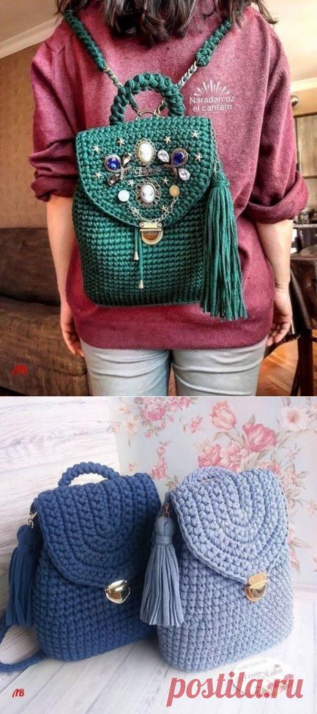 Вяжем очаровательные и удобные рюкзаки из трикотажной пряжи крючком