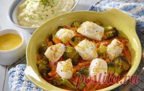 Запеченная треска с брокколи / Рыбные вторые блюда / Кукорама — вкусные рецепты!