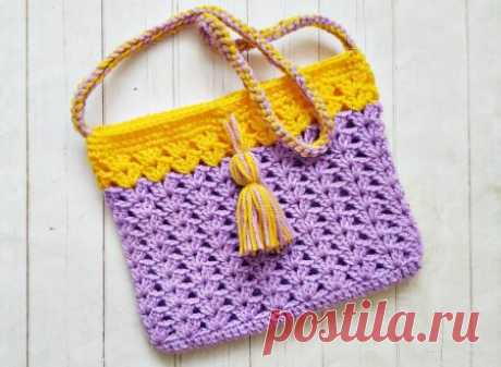 Яркая сумочка крючком для маленьких модниц » «Хомяк55» - всё о вязании спицами и крючком