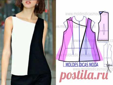 Двухцветная асимметричная блузка. Подборка фото Шитье | простые выкройки | простые вещи #простыевыкройки #простыевещи #шитье #блузка #моделирование #идея