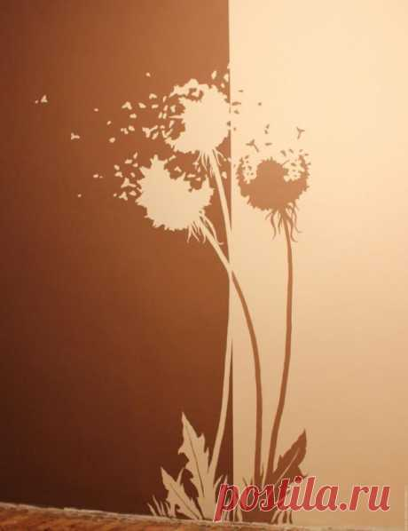 dandelions on a wall