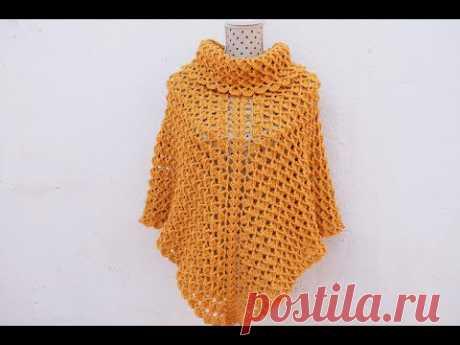 Poncho con cuello tortuga a crochet para mujer @Majovel crochet english