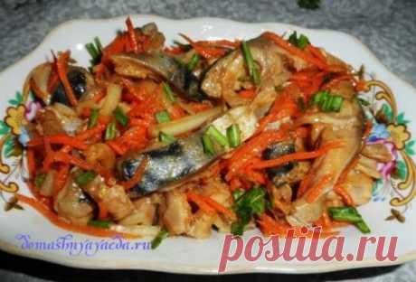 He del pez, la ensalada en coreano