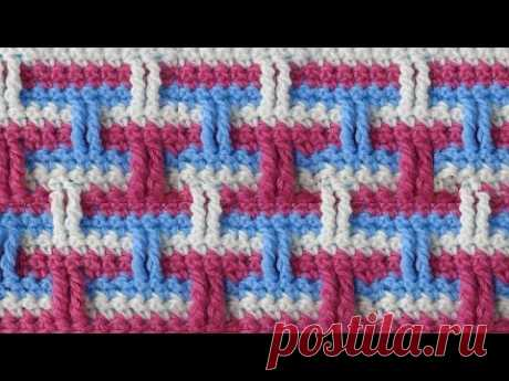 Three-colored pattern Knitting by a hook of Crochet pattern 55