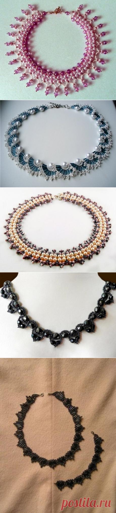 Ожерелья из бисера и бусин. Схемы плетения