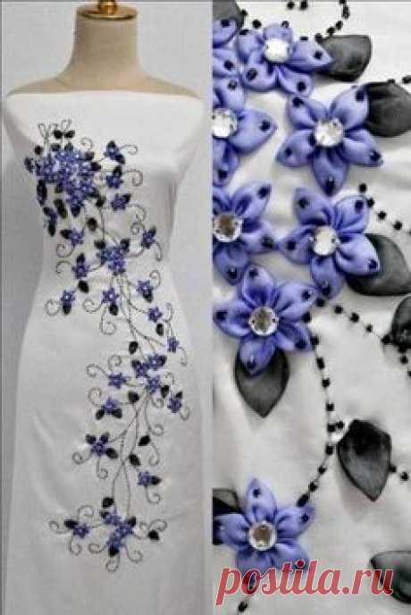 Декорирование плтья лентами - красота