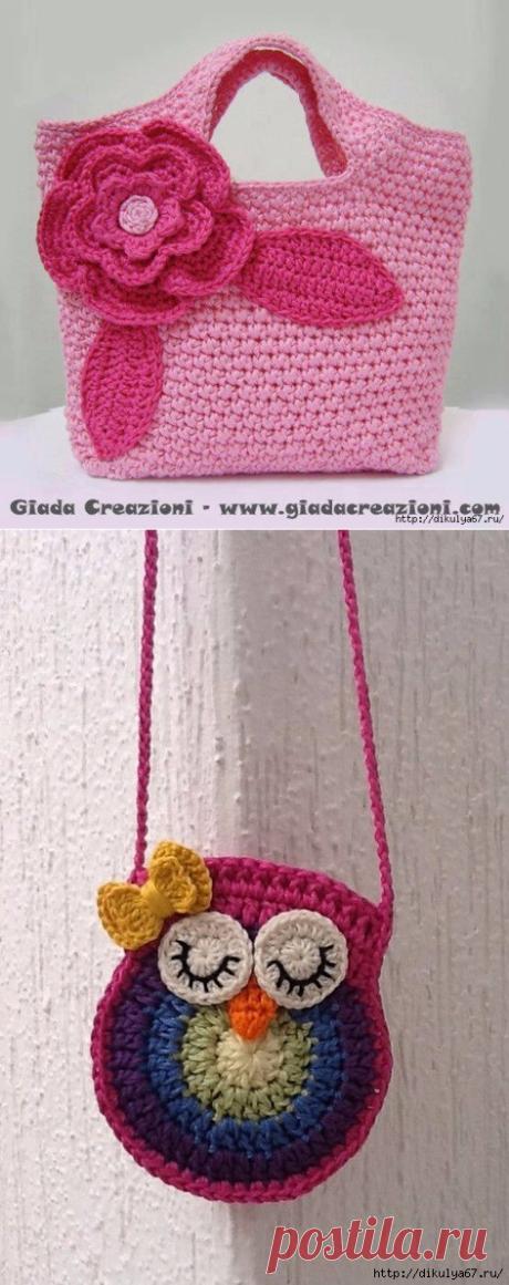 2a19ff61fb14 Детские сумочки крючком - Цветок крючком, схема для вязания / Цветы ...