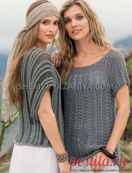 Пуловер с круглой кокеткой и Поперечно-вязаный полосатый пуловер