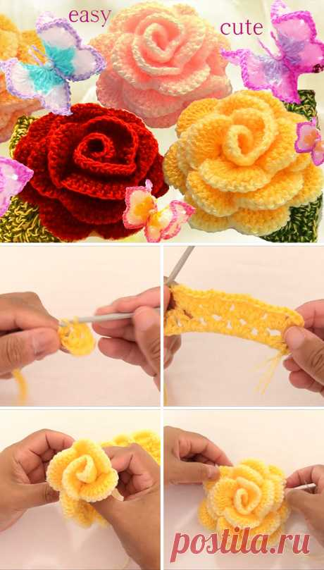 Роза крючком цветочный узор и видео | CrochetBeja