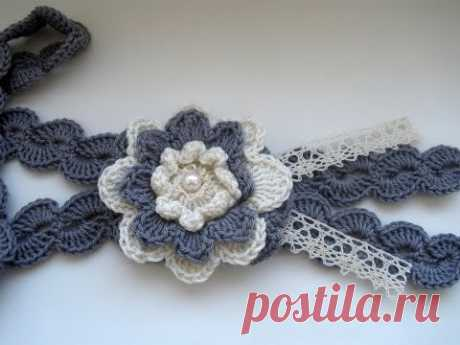 Crochet Flower Statement Necklace. Part 1 Step by step  Вязаное колье.