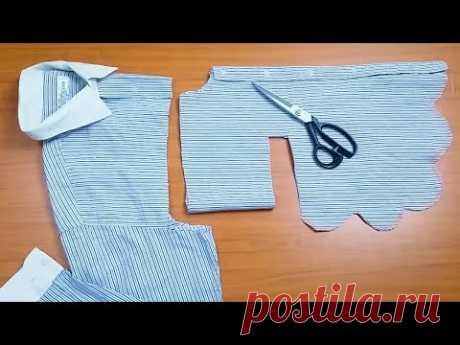 فكرة مدهشه لخياطة فستان من قميص رجالي قديم