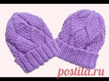 Женская двухсторонняя шапка с отворотом спицами.