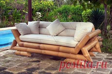 Фото диван из натурального бамбука