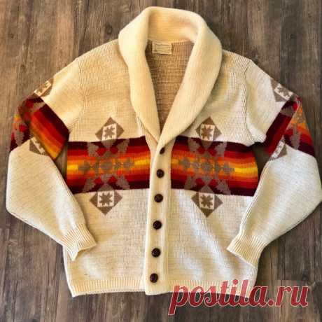 Vintage Pendleton Wool Sweater Aztec Pattern Large Shop hannahmshall's closet or find the perfect look from millions of stylists. Fast shipping and buyer protection. AMAZING Pendleton Vintage Sweater 100 % Virgin Wool Cream Color  Aztec Western Tan, Orange and Red Pattern - Vibrant! Leather covered buttons Pendleton Western Collection Cardigan Smells Great Great condition - two very small flaws barely noticeable see pics Men's Large  Women's XL