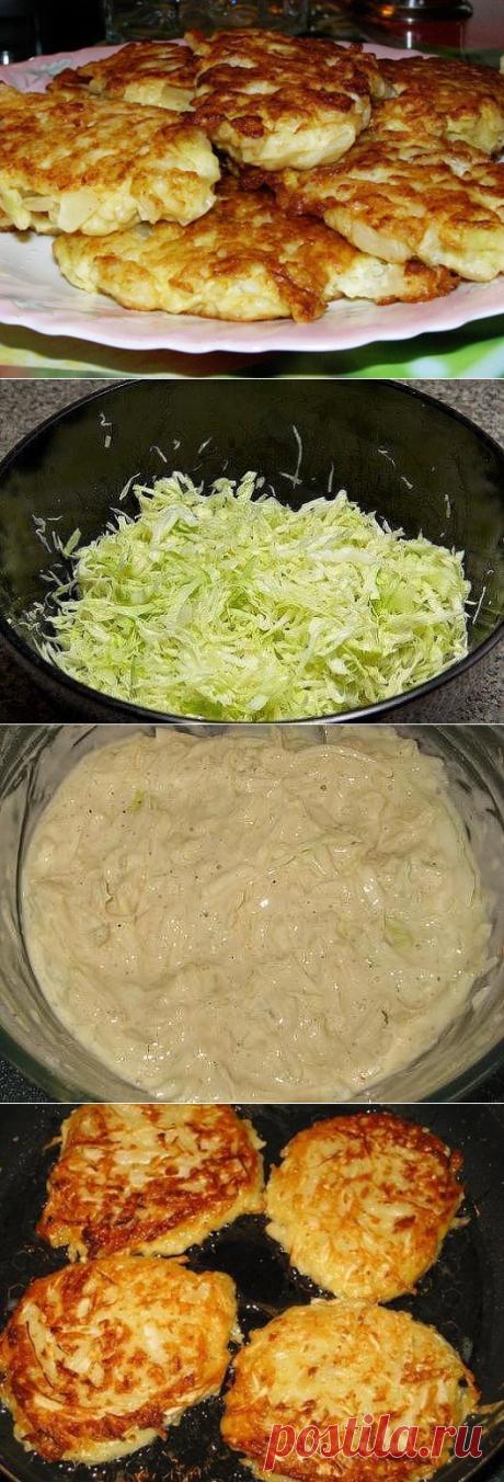 Капустные оладушки на кефире 300-400 гр капусты 200 мл кефира 1 яйцо 1 луковица 3-5 столовых ложек муки масло растительное
