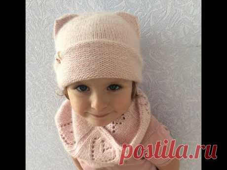 Knitted cap with ears. MK