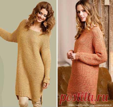 Платье -туника и пуловер платочным узором с удлиненной спинкой