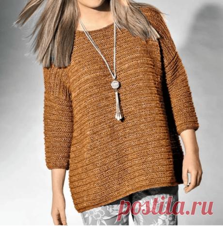 Модный джемпер для дам до 62-го размера, связанный спицами простейшим узором (Вязание спицами) – Журнал Вдохновение Рукодельницы