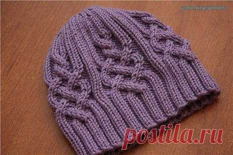 Узор для шапочки спицами #вязание #спицами