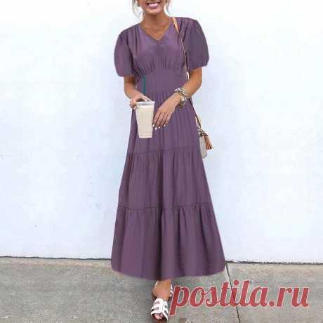 1037.96руб. 39% СКИДКА|Модное праздничное длинное вечерние, элегантное однотонное платье, Женский Осенний сарафан VONDA 2021, плиссированное платье, макси платье с коротким рукавом|Платья|   | АлиЭкспресс Покупай умнее, живи веселее! Aliexpress.com