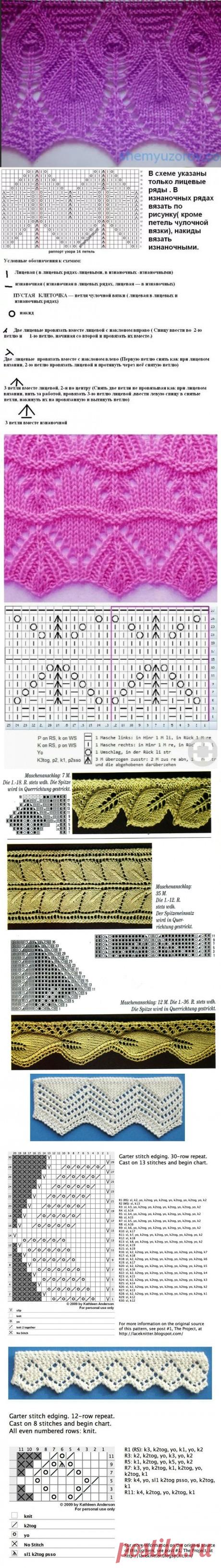 Ажурная кайма спицами, 50 схем вязания с видео-уроками, Узоры для вязания спицами