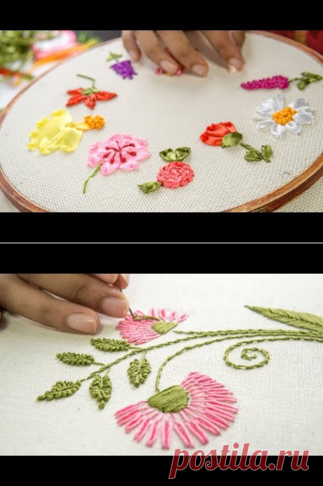 (1) 10 RIBBON EMBROIDERY FLOWERS: Hand Stitching Tutorial for Beginners - YouTube