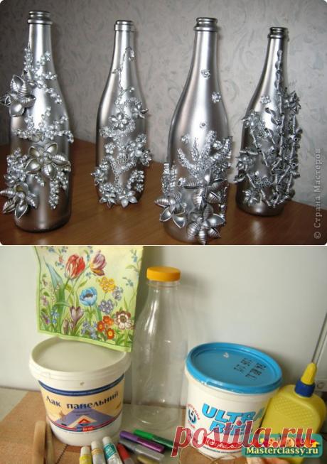 Декупаж бутылок. - Babyblog.ru - декупаж бутылок мастер-класс