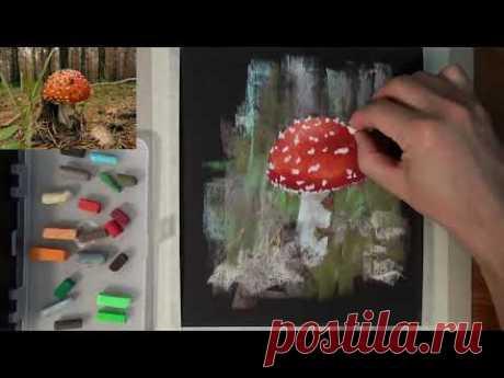Как нарисовать мухомор пастелью