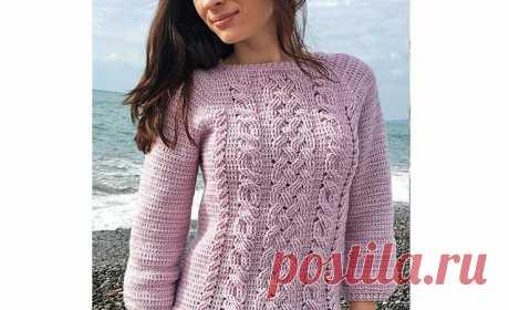 Вязаный крючком пуловер с переплетенными косами. Схема