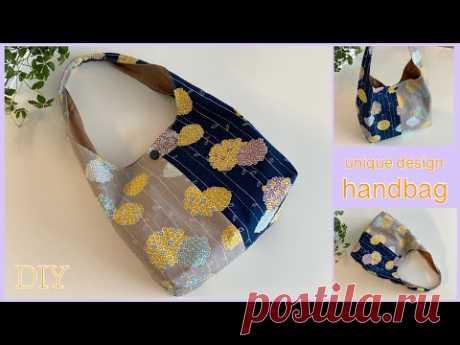 2色合わせハンドバッグ, 2 colors of fabrics in one bag, How to make , easy sewing tutorial, diy