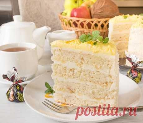 Любимый рецепт  Кокосовый торт с лимонным курдом  Для бисквита (на 2 шт. 21 см): яйцо — 4 шт. сливочное масло — 225 гр. Показать полностью…