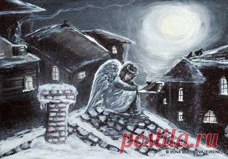 Уставший Ангел ... шёл ... по белым облакам ... Он ... столько сделал для людей, за эти сутки ... Кому - то, двери открывал, впервые, в храм ... Кому дарил надежду, робкой незабудкой... Просящим, нежно... протянул он два крыла, И положил просвиры, в руки ... безнадёжных ... Встречая зло всегда ... сжигал его дотла, Хотя и знал, что сжечь ... навечно ... невозможно ... Он подбирал, у парков, брошенных детей, И нёс туда ... где их любовь ... брала на руки Мирил, по глупости, рассоренных друзей,…