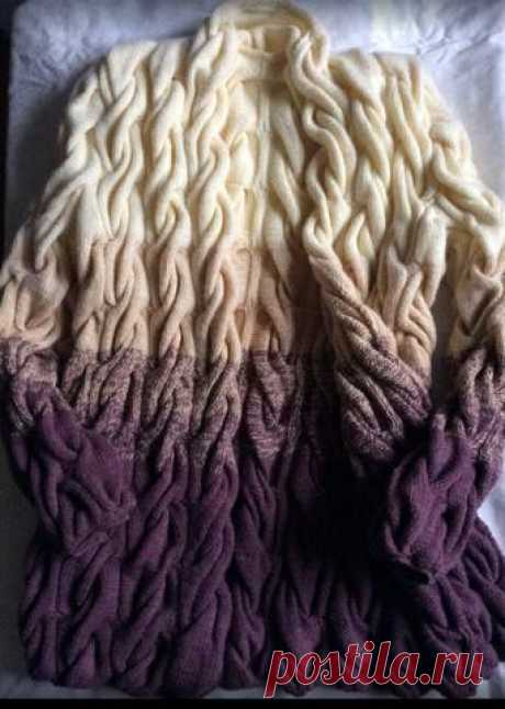 Gradient from braids - a cardigan spokes