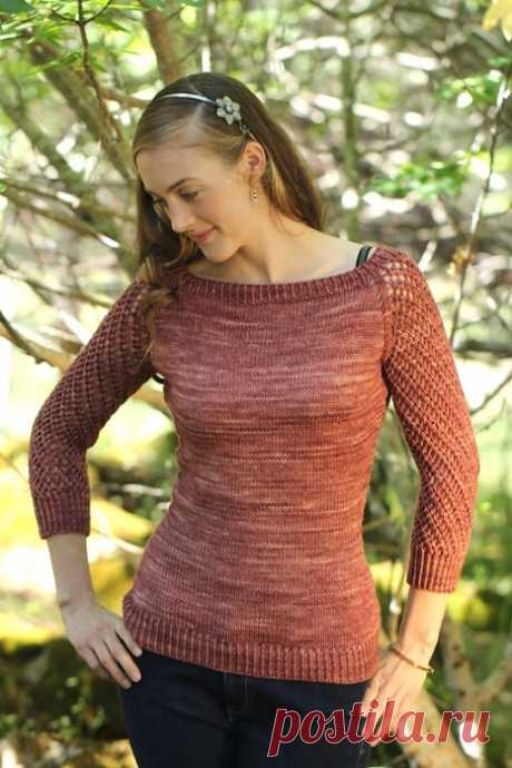 Вязаный пуловер Deodara с рукавом реглан в ажурную сетку от дизайнера Maria Olson