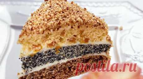 Торт трехслойный, пошаговый рецепт с фото