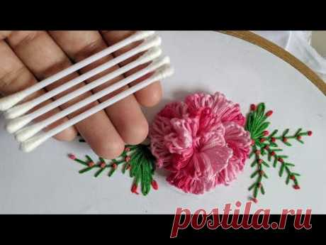 Amazing Hand Embroidery 3d flower design trick With cotton bud | Brazilian stitch:Rose Flower Design
