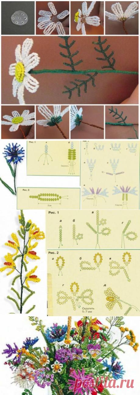 Урок плетения букета полевых цветов ❀ ромашки, маки, васельки ❀ 20 идей