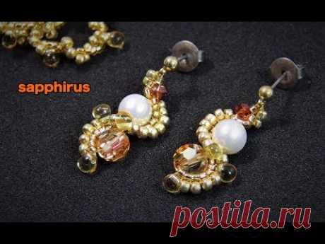 【ハンドメイド】アレンジレシピ☆スワロフスキーとパールのピアスの作り方  How to make earrings with swarovski crystals and pearls.