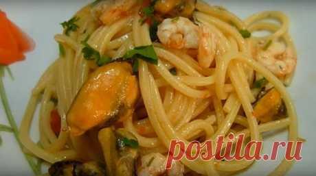 Спагетти с мидиями и креветками рецепт итальянской кухни.