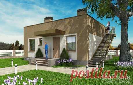 Rg5456 - Одноэтажный жилой дом с террасой и эксплуатируемой кровлей