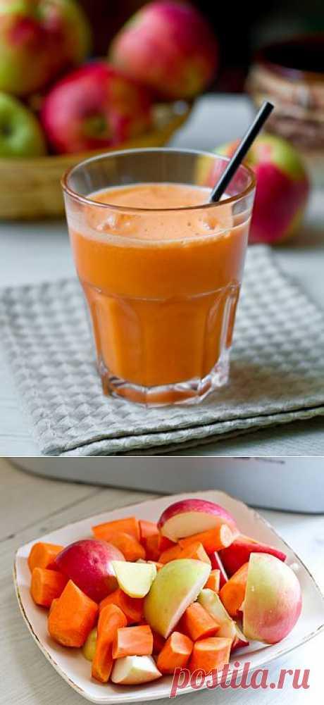 """Морковно-яблочный сок с имбирем.  Смесь, приправленная небольшим количеством свежего имбиря, """"играет"""" еще интереснее. Главное, чтобы морковь была достаточно сладкой."""