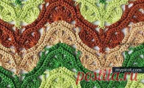 """Многоцветный узор """"Миссони"""" схема. Узоры крючком из разноцветной пряжи Цветной узор крючком схема. Узоры крючком из разноцветных ниток"""