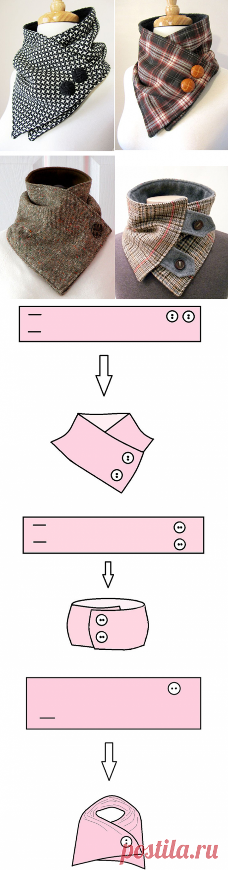 How to sew an original removable stand-up collar — Master classes on BurdaStyle.ru