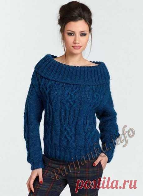 Стильный пуловер с косами
