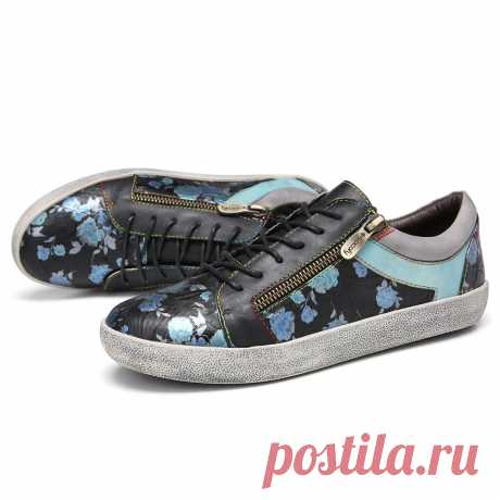 SOCOFY Retro Leather Printing Pattern Stitching Zipper Lace Up Flat Sneakers - US$62.99