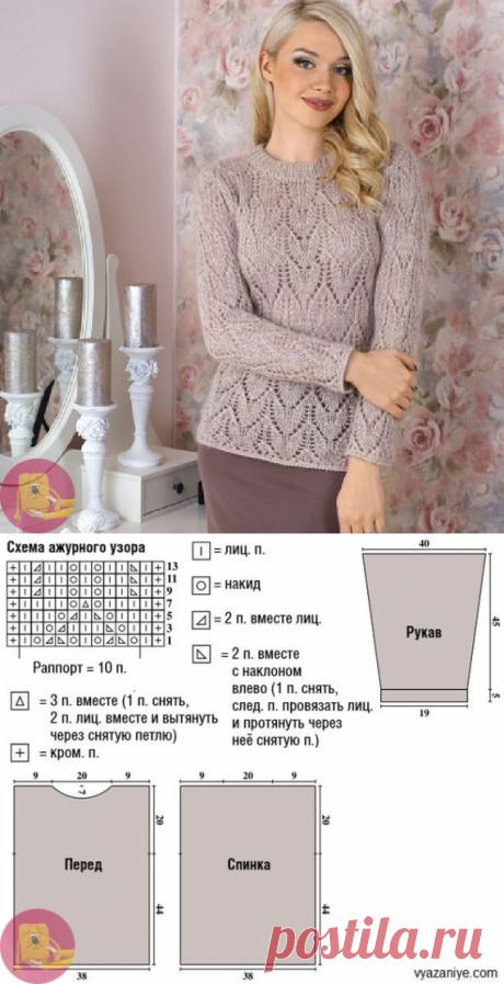 Пуловер ажурным узором — Сделай сам, идеи для творчества - DIY Ideas