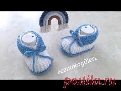 Erkek ve Kız Bebekler için Kolay ve Şık Tığ İşi Bebek Ayakkabı/Patik/3-6 ay bebek için