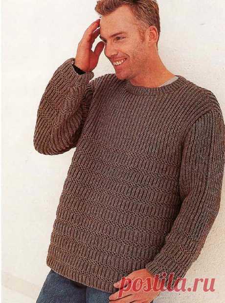 Пуловер, связанный патентным узором спицами