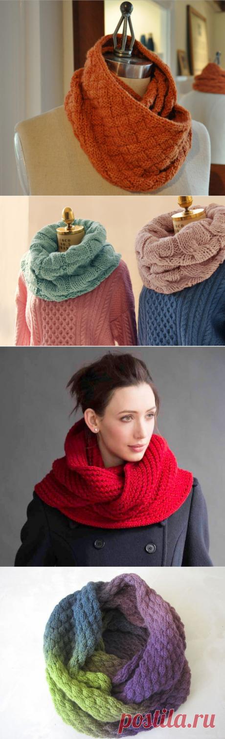 Связать шарф хомут на спицах узоры